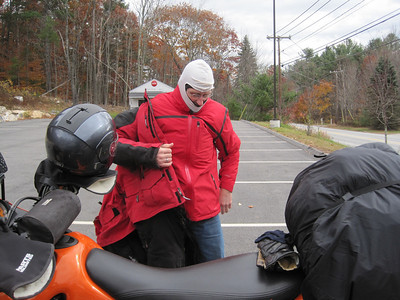 Yes, that is TWO balaclavas on Mike's head.  I guess riding a KTM is much colder than riding a BMW.