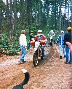 Rick Novy finishing special test as Sparkplug enduro.  1995?