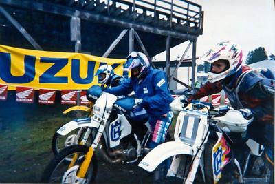 Matt, Steve Stafford, and John Stowe rolling to the start line of the Shelton Valley Enduro.  1995?
