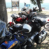 Our group on top of Mt. Nebo, Ar., about half way to Eureka Springs.  My Super Tenere in foreground, Jean's 696 beyond.