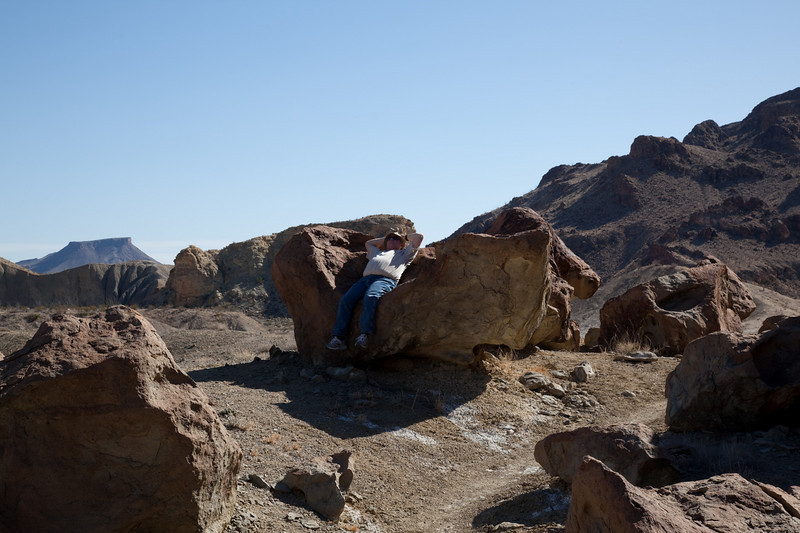 Some rocks are just made for chillin. Don taking it easy along the trail.
