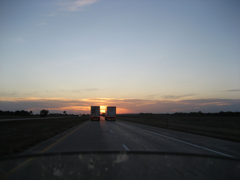 Nice sunset on the road.