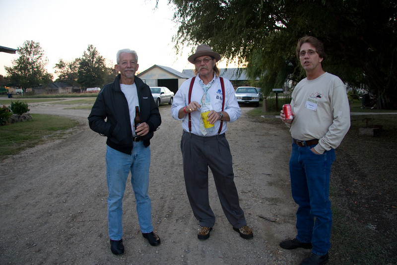 Caught these three delinquents out back smokin and drinkin - Bill, Richard and Greg