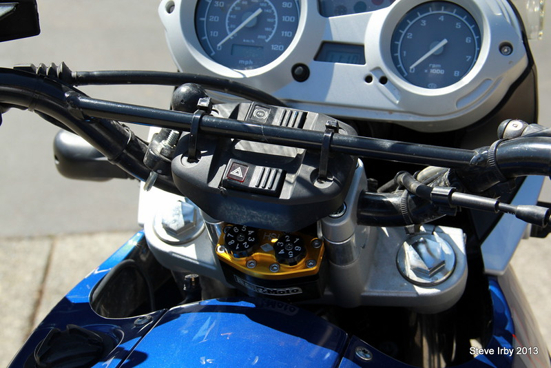 Steering Damper from RalleMoto required the swich panel to be hung from the cross brace bar