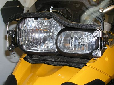 Closeup of the LightGuard and rubber light seal.  The seal prevents light from reflecting back into your eyes when driving at night.