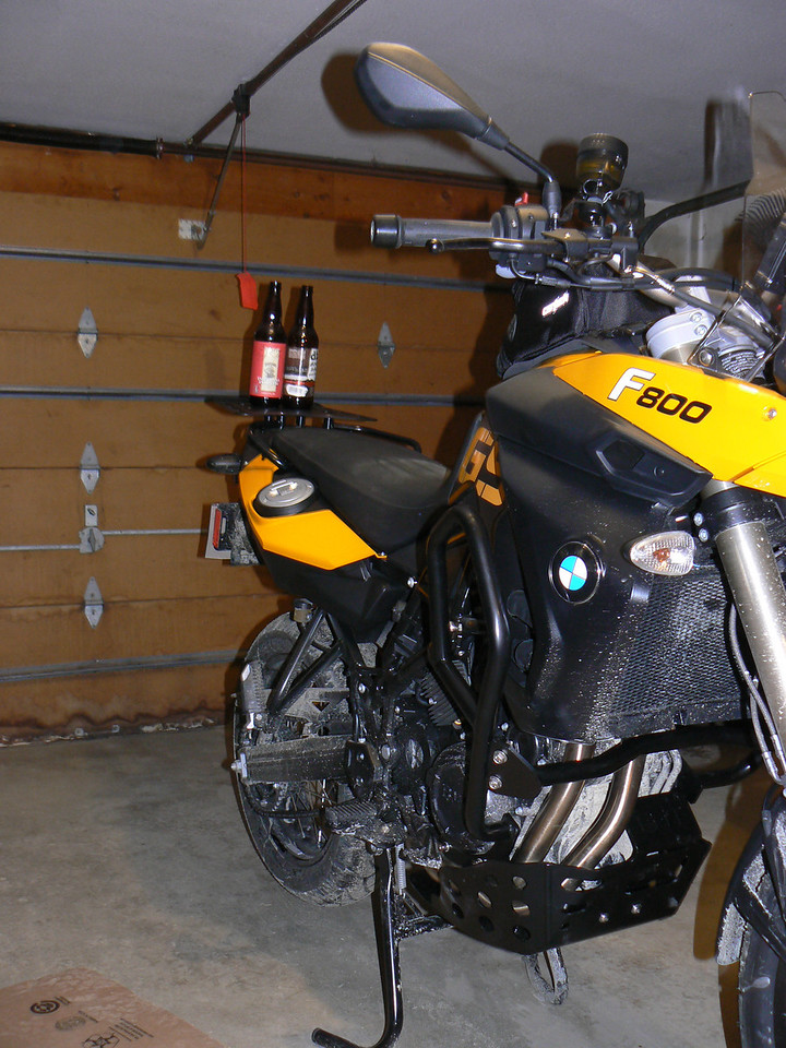 AdventureSpec engine bars, skid plate, and rear rack installed:<br /> Project actually took me about an hour or so as I did it with the tank bag project as well, could have been shorter if I didn't have to drink those two beers