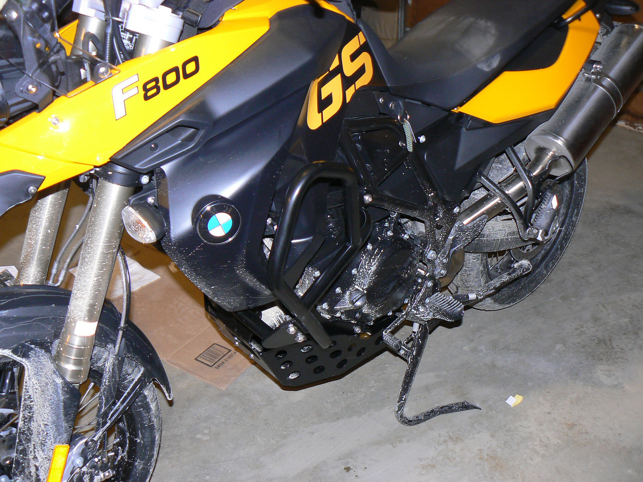 AdventureSpec engine bars, skid plate, and rear rack installed