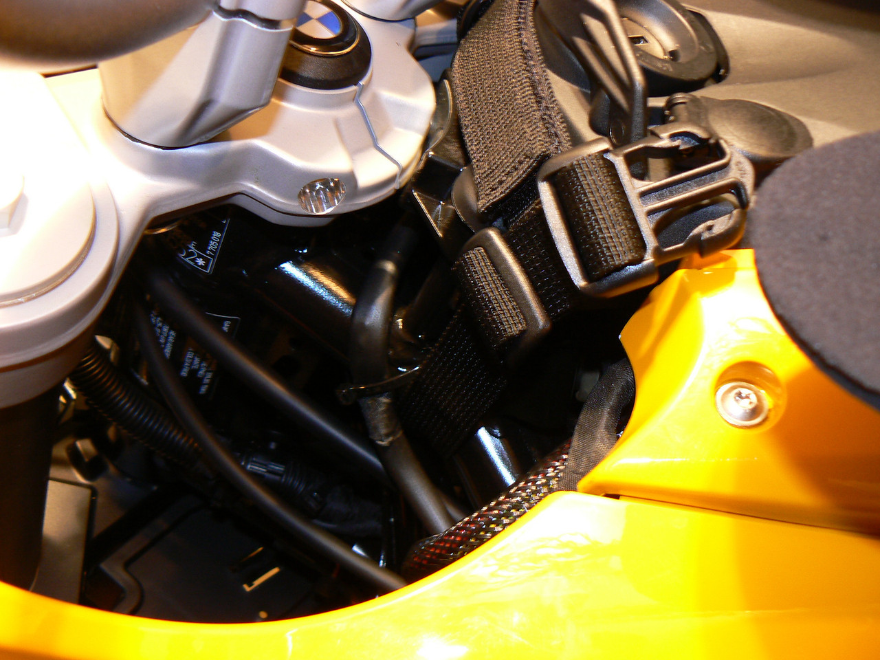 Installing Tourmaster Super Mini Tank Bag:<br /> left side of front strap