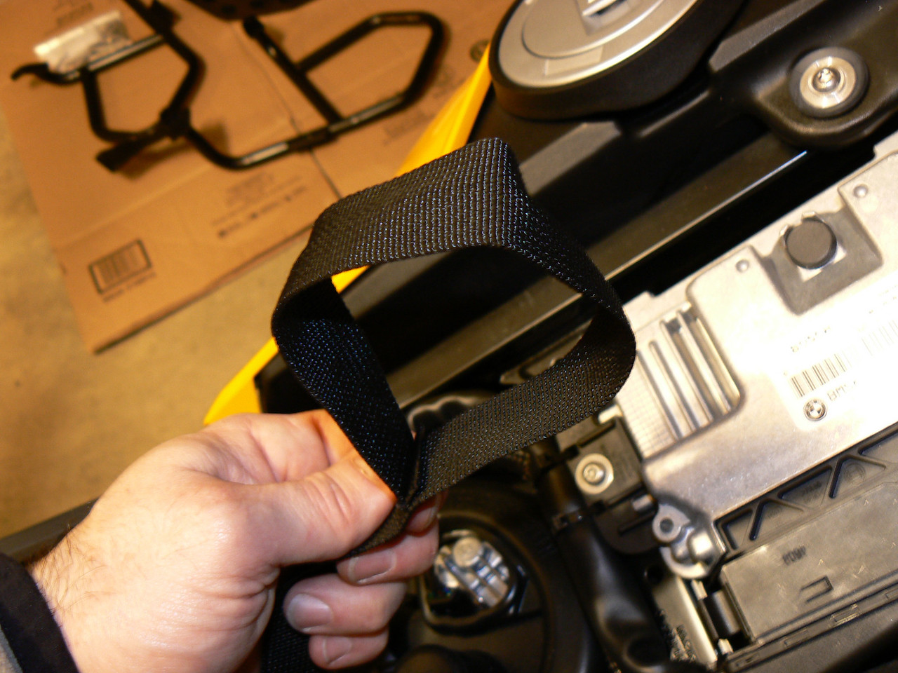 Installing Tourmaster Super Mini Tank Bag:<br /> rear mounting strap