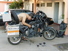 Mexico 2006. Changing out the throttle cable, the only spare part I brought with me.