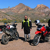 Muddy Tiger and Bobby and his KLR at the Gila River basin across from the coke ovens.