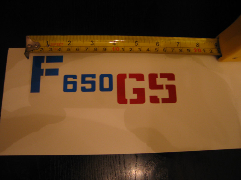 F650GS stickers in 2 sizes,this is the Large version,identical dimensions to the standard side panel stickers.<br /> Shown here in reflective vinyl,pic taken using NO FLASH!