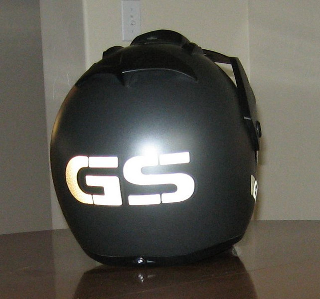 "BMW Enduro helmet fitted with reflective decals,""GS"" letters only in the style of the R1150GS Adventure tank graphic.<br /> Same pic as previous but this pic taken with Flash !"