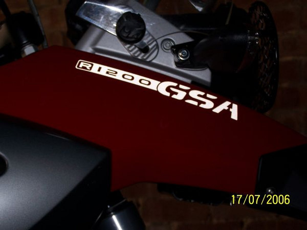"R1200 GSA ""Beak"" sticker in All White reflective vinyl."