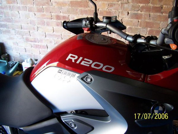 """R1200"" Tank Sticker (as per the 1200 GS Adventure) in All White Reflective. <br /> Normal daylight pic No Flash used."