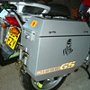 "Large R1200GS stickers in Reflective vinyl as fitted to a customer's Jesse Panniers.<br /> This picture was taken WITH FLASH photography to highlight the reflective vinyl-in normal light the ""R & GS"" letters are Red and the 1200 part is Black."