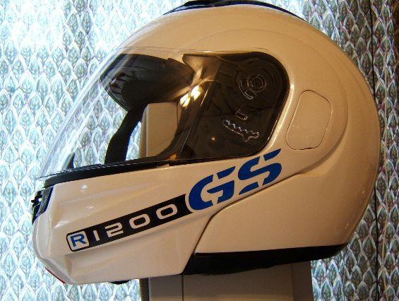 Blue/Black R1200GS stickers applied to MrMaico's crash helmet.