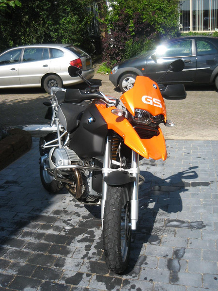 "My ""GS"" letters  (seen here in White reflective vinyl)  applied to a freshly painted Orange 1200 to good effect."