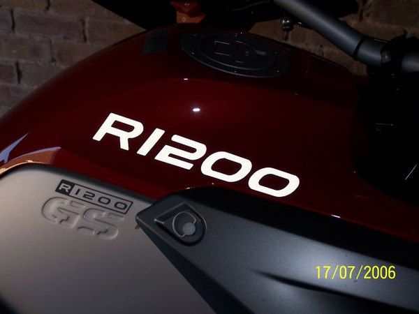 """R1200"" Tank Sticker (as per the 1200 GS Adventure) in All White Reflective.This pic taken with FLASH!"