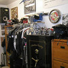 Hanger rod for jackets, helmets above, file drawers, nice speakers