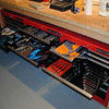 3 tool cabinets designed to fit under the workbench. Nice.