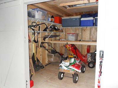 High shelf for snowblower, mower, etc.