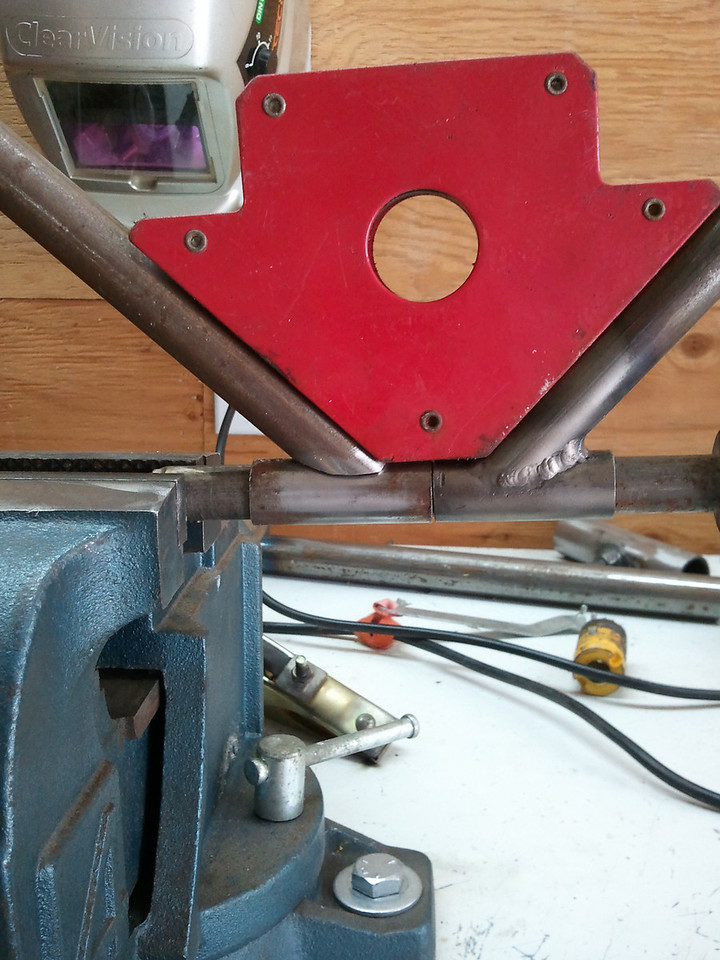 The other side clamped for welding (left)