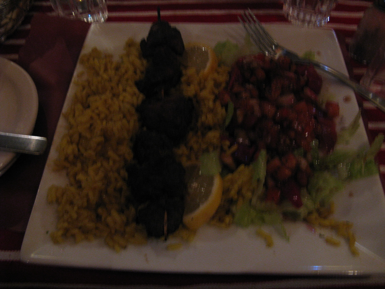 Obligatory food shot from Old Quebec. We ate in a Moroccan restaurant. Kabobs and rice and salad. Excellent meal!