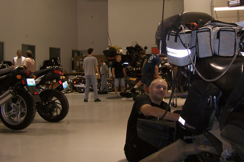 That's Kevin working on an FJR. We did a few other FJRs and even a Harley that day.