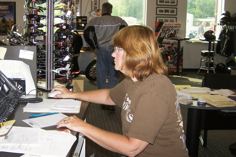I sneaked back to the parts counter as got a quick shot of Marklyn doing my job...