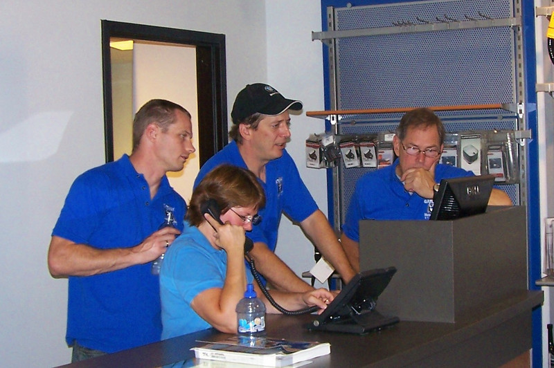 Here's a shot of my parts crew as Honz our GM shows them how the computer works.