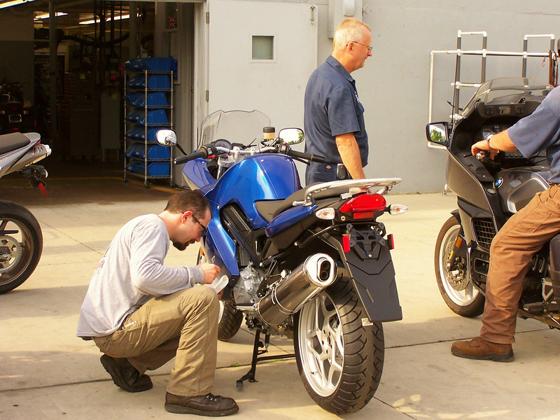 Back to work on Tuesday, Shannon  is checking out an F800 he just assembled.