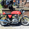 Main course stop at the Gail's home.  Doug's Royal Enfield.
