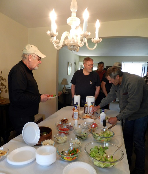 Salad stop at the Dave Mattiss's home. Steve, Griff, Dave, Jeff.