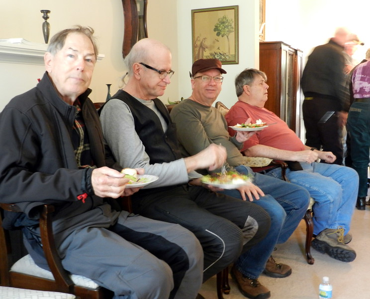 Salad stop at the Dave Mattiss's home. Fielding, George, Cecil and Dave.