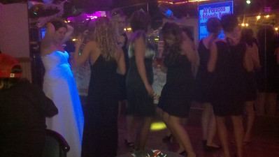 There was a wedding party at the bar....and they were enjoying themselves!