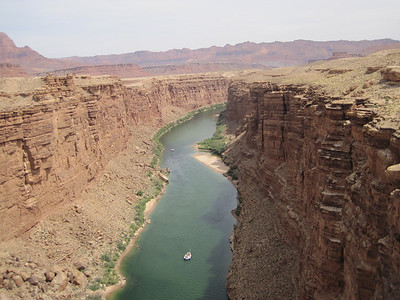Marble Canyon. The water is green from copper leaching out of the rock.