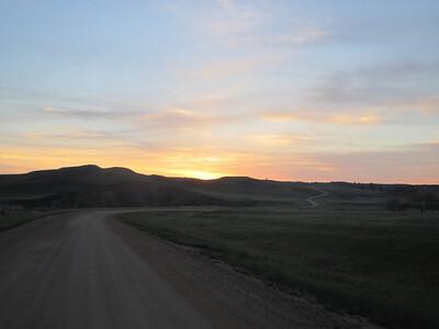 Sunrise leaving Badlands.