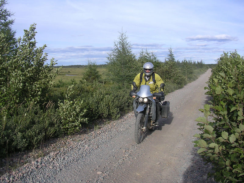 Riding the railroad trail in Newfoundland.