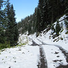 Looking up the access road to Governor Basin.  It just gets worse from here.  We'll let the snow melt for a day or so before making the climb.
