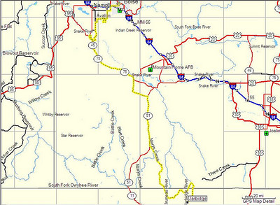 Map, Day 13. Boise, ID to Jarbidge, NV.
