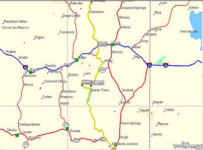 Map, Day 14. Jarbidge, NV to Ely, NV.
