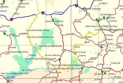 Map of Day 1's ride from Montrose, CO to Green River, UT.
