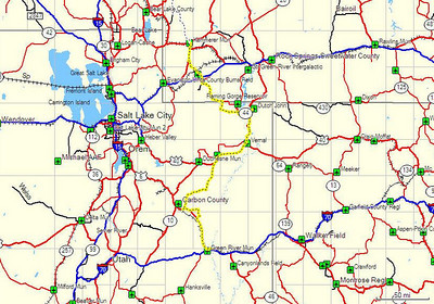 Map, Day 2. Green River, UT to Kemmerer, WY.