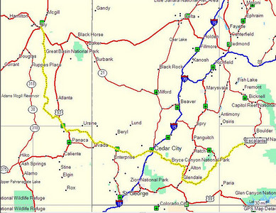 Map, Day 15 - Ely, NV to Escalante, UT.