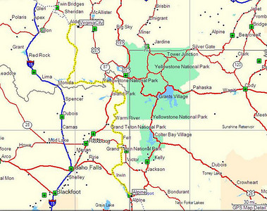 Map, Day 4. Alpine, WY to Virginia City, MT.