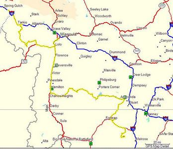 Map, Day 6. Canyon Creek Guard Station to Superior, MT.