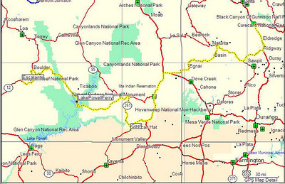 Map, Day 16. Escalante, UT to Montrose, CO.