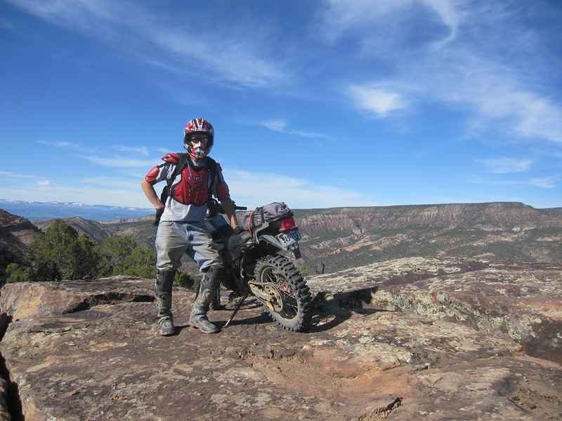 Riding out onto a large shelf road for a view.  Black Canyon is behind me.