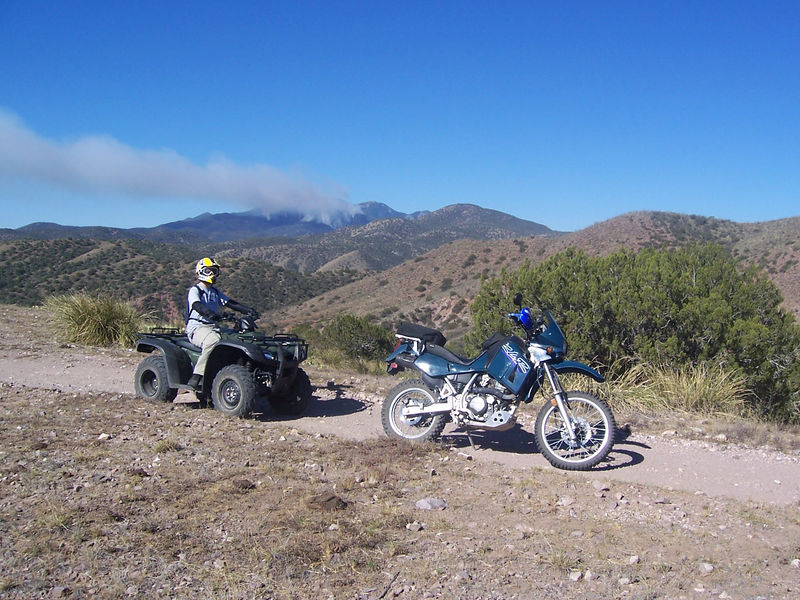We were out having fun while Mt Wrightson burned.  I rented a quad and took my son, Eric, on a ride to Gunsight Pass in the Santa Rita mountains. Little did we know, a fire started the day before.  A week later, meny of the roads we were on were closed.